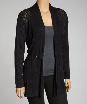 Black Button Open Cardigan - Plus