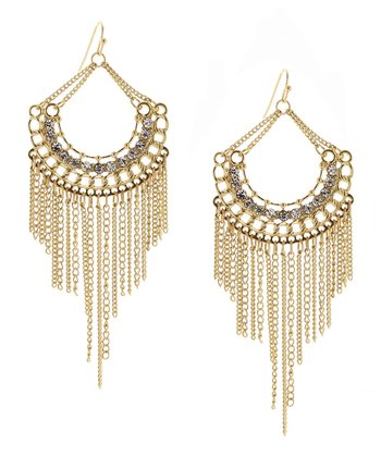 Gold & Crystal Half Moon Chain Fringe Earrings
