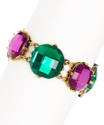 Emerald & Antique Gold Cushion Stone Stretch Bracelet