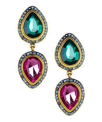 Emerald & Antique Gold Double Teardrop Earrings