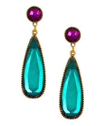 Emerald & Antique Gold Elongated Teardrop Earrings