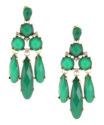 Emerald & Antique Gold Elongated Teardrop Chandelier Earrings