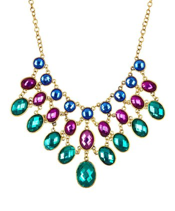 Emerald & Antique Gold Ombré Bib Necklace