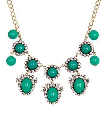 Emerald & Antique Gold Oval Trio Stone Bib Necklace