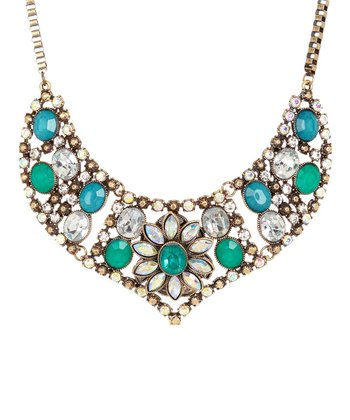 Emerald & Antique Gold Floral Stone Bib Necklace