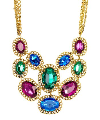 Emerald & Antique Gold Chain Bib Necklace