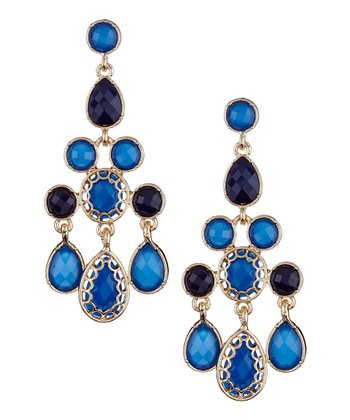 Blue & Gold Floating Stones Triangle Chandelier Earrings