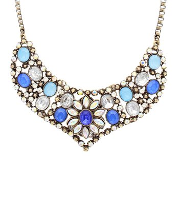Blue & Antique Gold Floral Stone Bib Necklace