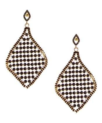 Black & Gold Mesh Drop Earrings