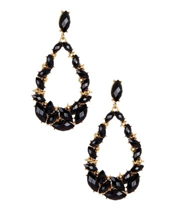 Black & Gold Open Teardrop Earrings