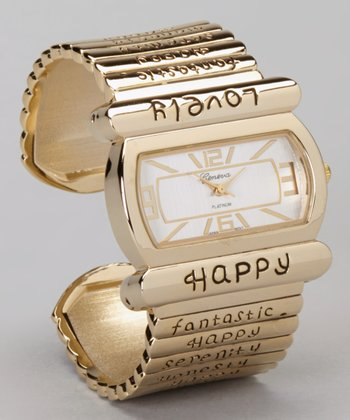 Gold Inspirational Cuff Watch