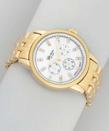 Gold Index Crystal Chronographic Watch