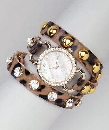 Leopard & Gold Rhinestone Wrap Watch