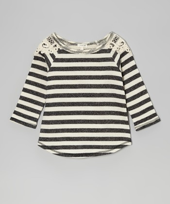 Black & Ivory Stripe Lace Top