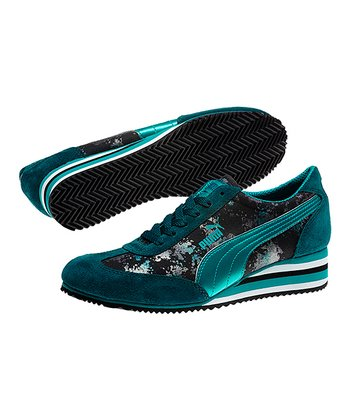Deep Teal Caroline Stripe Metallic Wedge Sneaker - Women