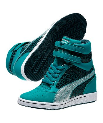 Bluegrass & Deep Teal Sky Metallic Wedge Sneaker - Women