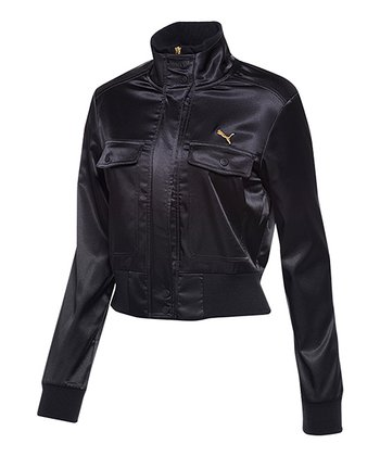 Black Satin Bomber Jacket - Women