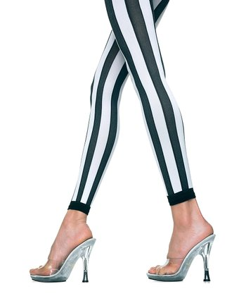 Black & White Stripe Opaque Footless Tights