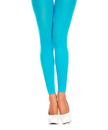 Turquoise Opaque Footless Tights - Women
