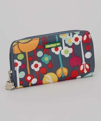 Lily Bloom Gray Floral Zip Wallet