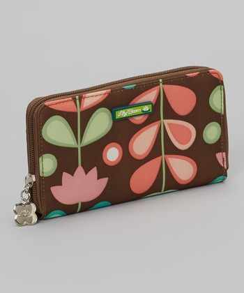 Brown Floral Zip Wallet