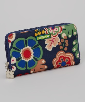 Navy Floral Zip Wallet