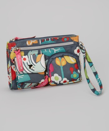 Lily Bloom Gray Floral Wristlet