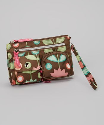 Lily Bloom Brown Floral Wristlet