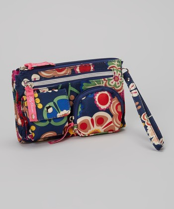 Lily Bloom Navy Floral Wristlet