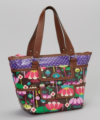 Lily Bloom Brown Floral Tote