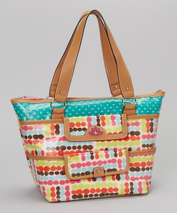 Lily Bloom Pink & Blue Polka Dot Tote