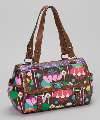 Lily Bloom Brown Floral Satchel
