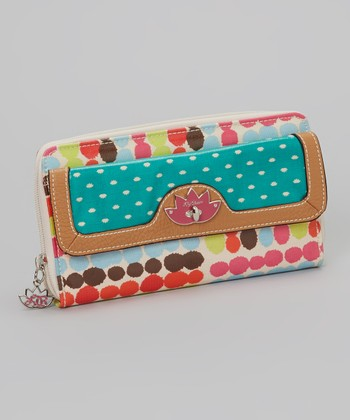 Lily Bloom Pink & Blue Polka Dot Clutch