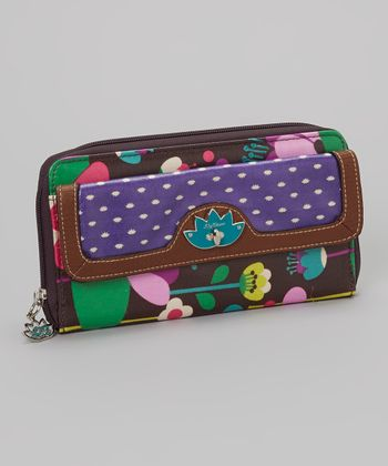 Lily Bloom Brown Floral Clutch