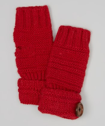 Red Button Wool-Blend Fingerless Gloves