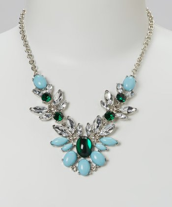 Silver & Emerald Crystal Feather Bib Necklace