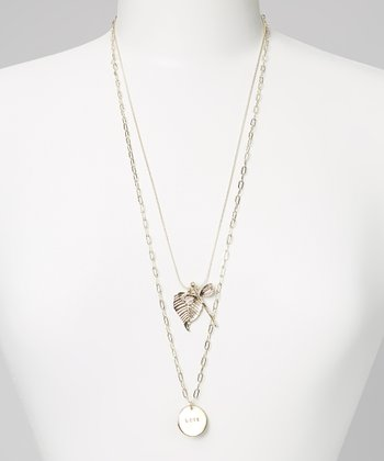 Gold 'Love' Dragonfly Necklace Set
