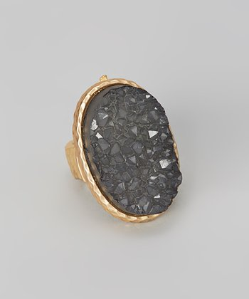Gold & Black Druzy Stretch Ring