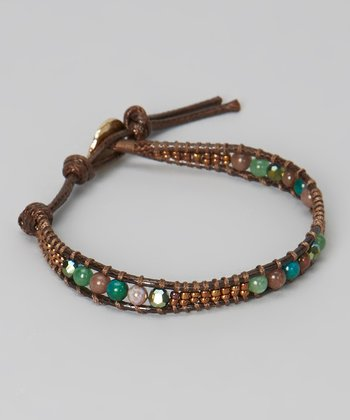 Brown & Green Stone Rope Bracelet