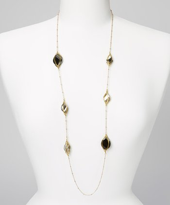 Gold & Gray Crystal Necklace