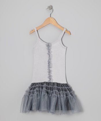 Silver Star Glitter Drop-Waist Dress - Infant
