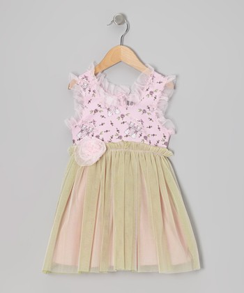 Pink & Lime Rainy Day Cats Tulle Dress - Infant