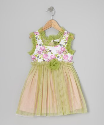 Pink & Lime Blushing Bloom Tulle Dress - Infant, Toddler & Girls