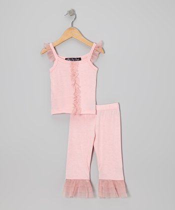 Candy Pink Ruffle Top & Capri Pants - Infant