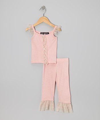 Dusty Pink Ruffle Top & Capri Pants - Infant