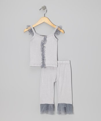 Silver Glitter Ruffle Top & Capri Pants - Infant