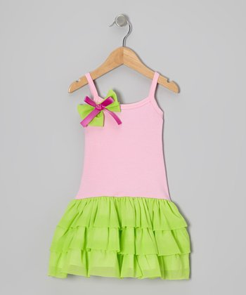 Pink & Lime Tulle Drop-Waist Dress - Toddler