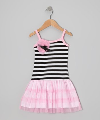 Pink & Black Stripe Tulle Drop-Waist Dress - Toddler & Girls