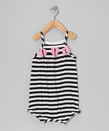 Black & White Stripe Bubble Romper - Infant
