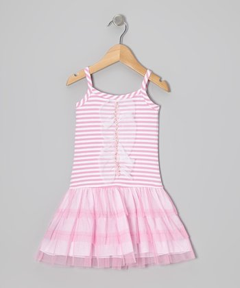 Pink Stripe Tulle Drop-Waist Dress - Toddler & Girls